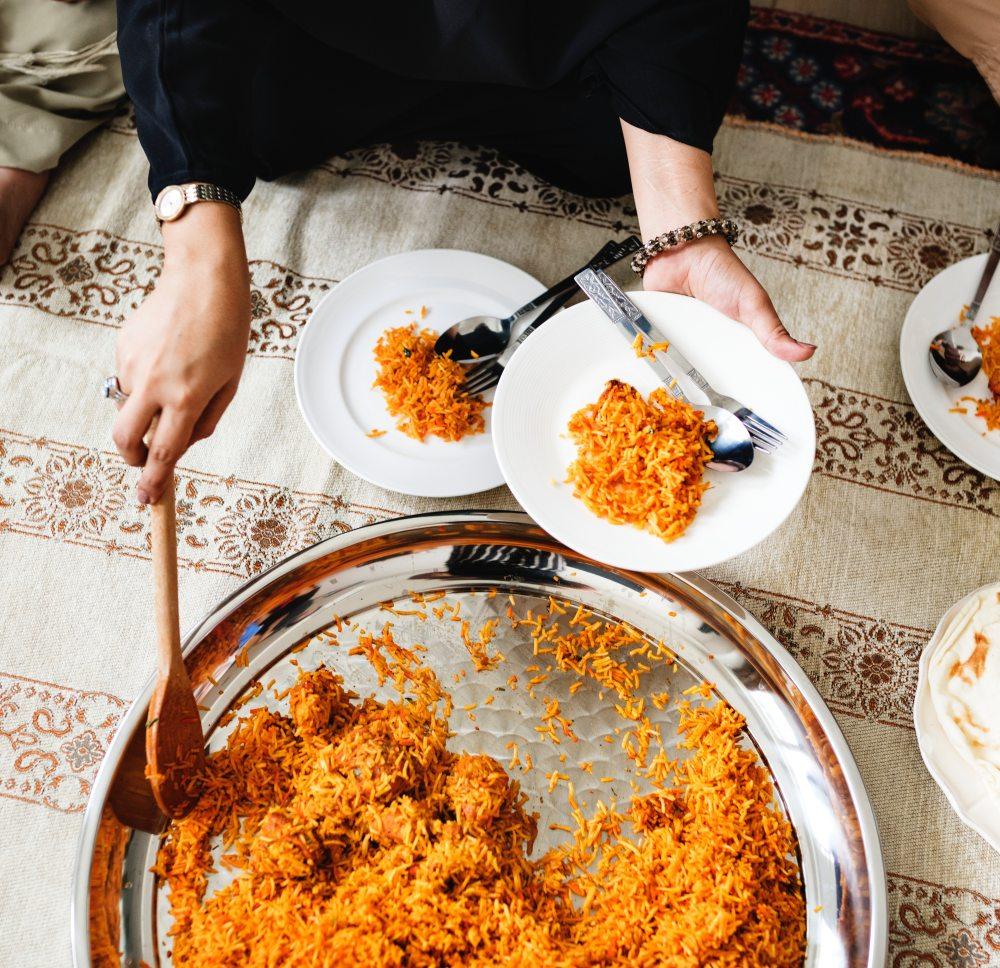 Lady sharing rice
