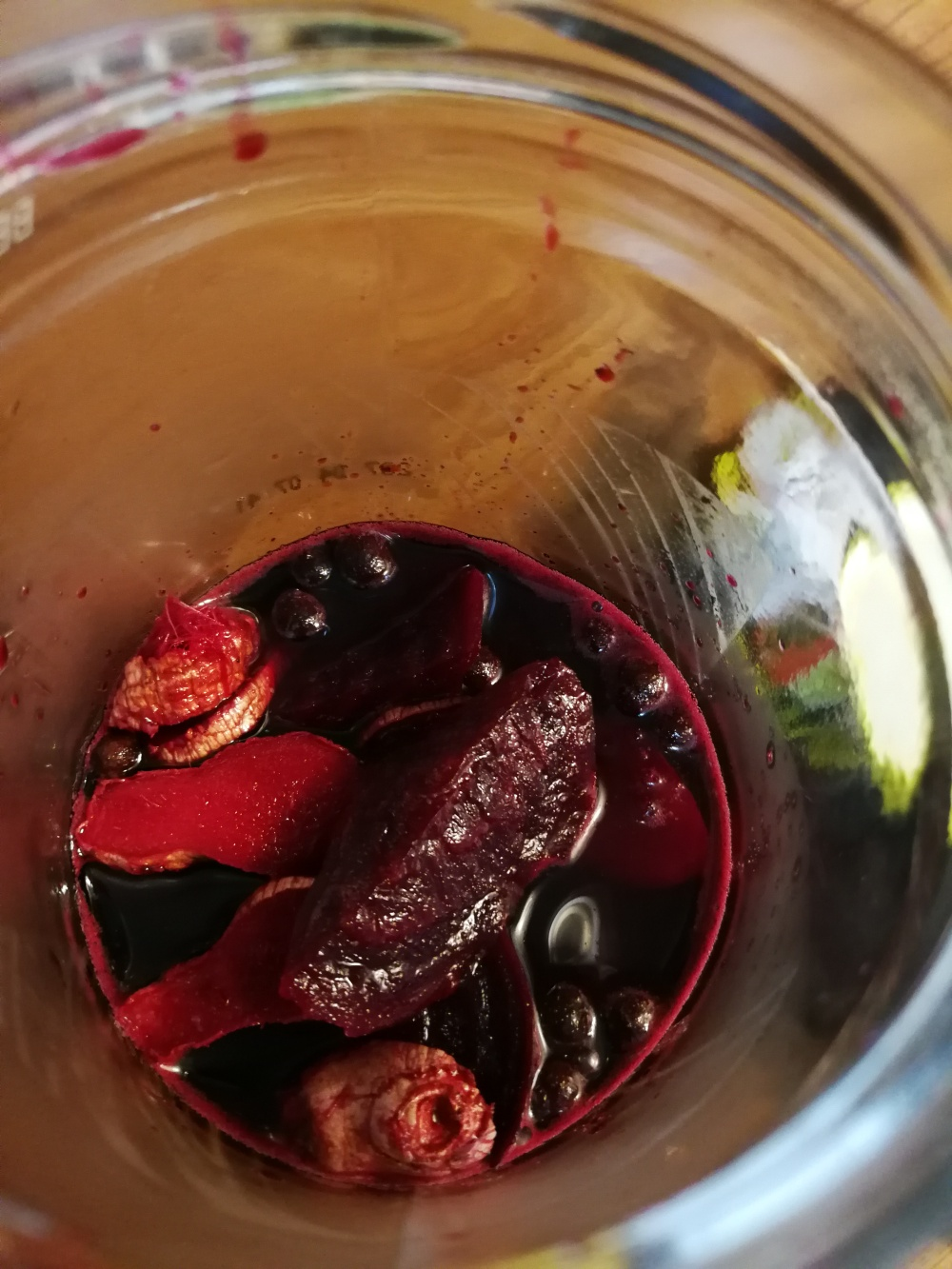 Pickled beets in a jar.
