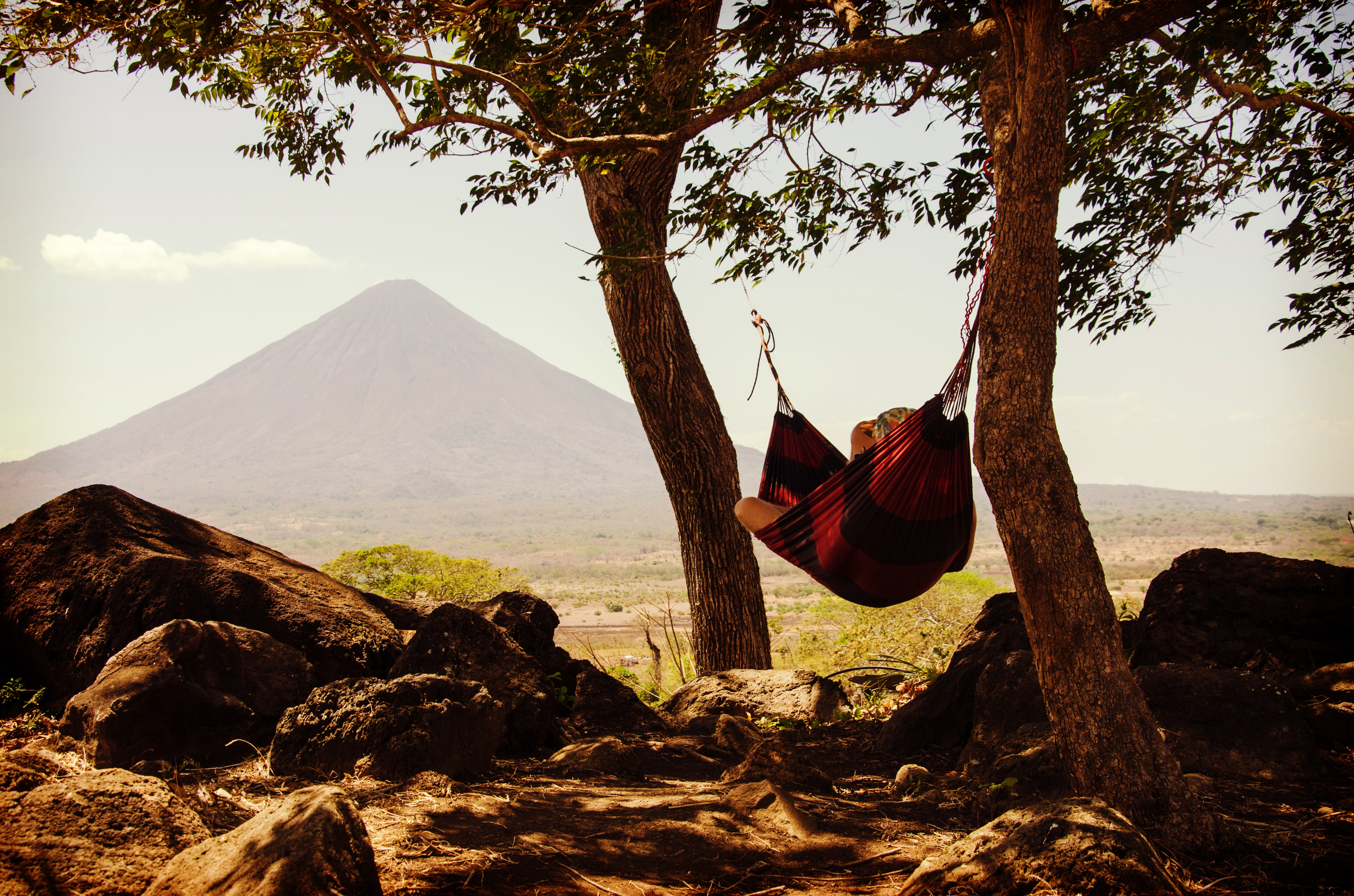 A person relaxing in a hammock