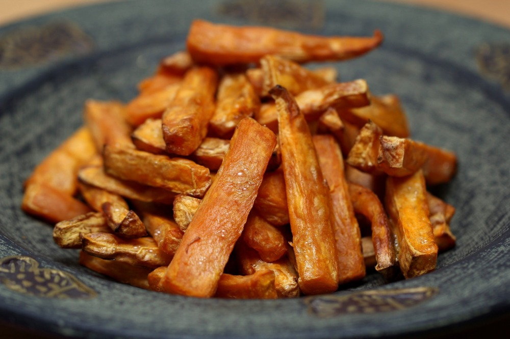 Sweet potato fries in a plate