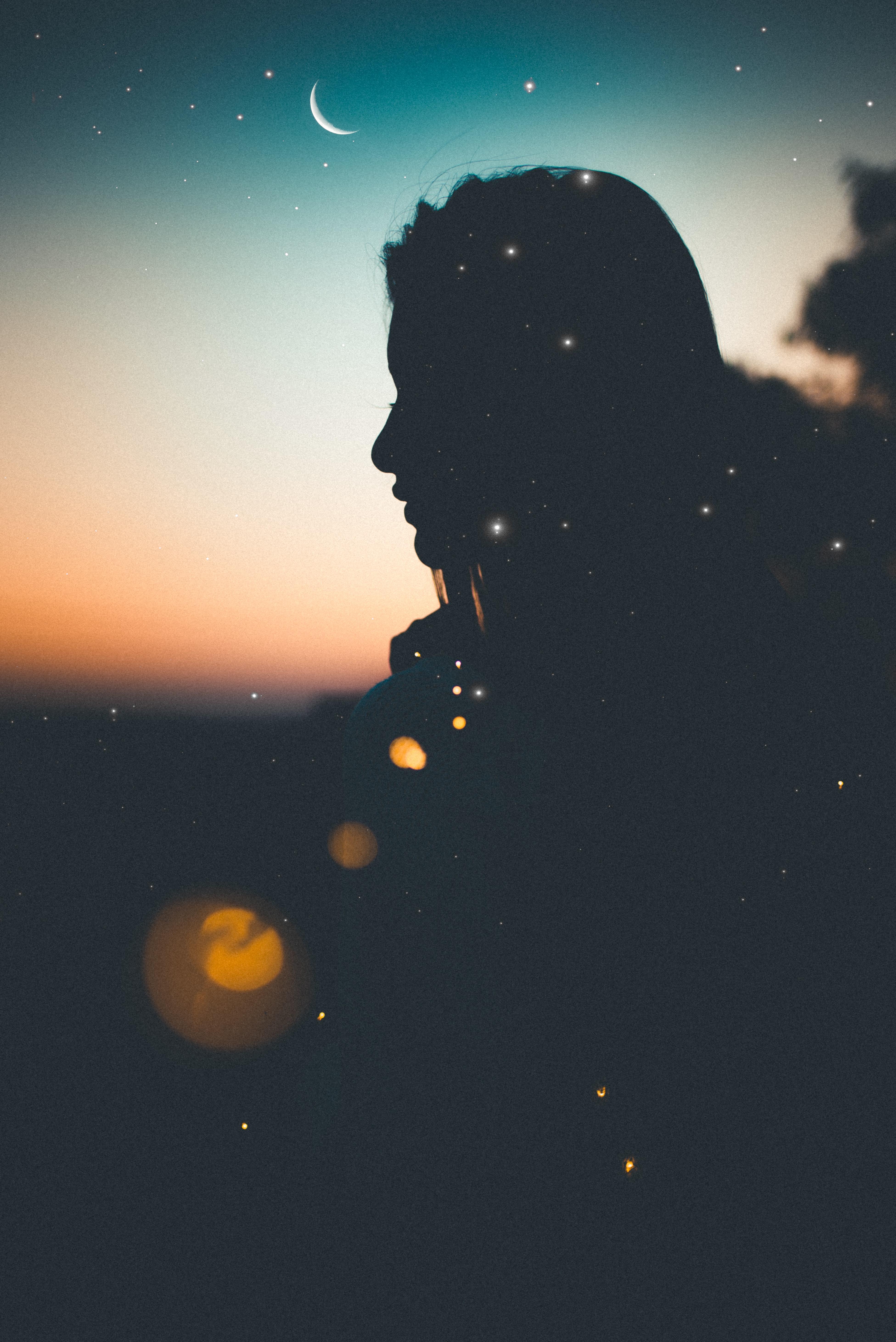 Sad woman in the night