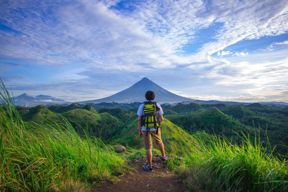 Traveler on a mountain