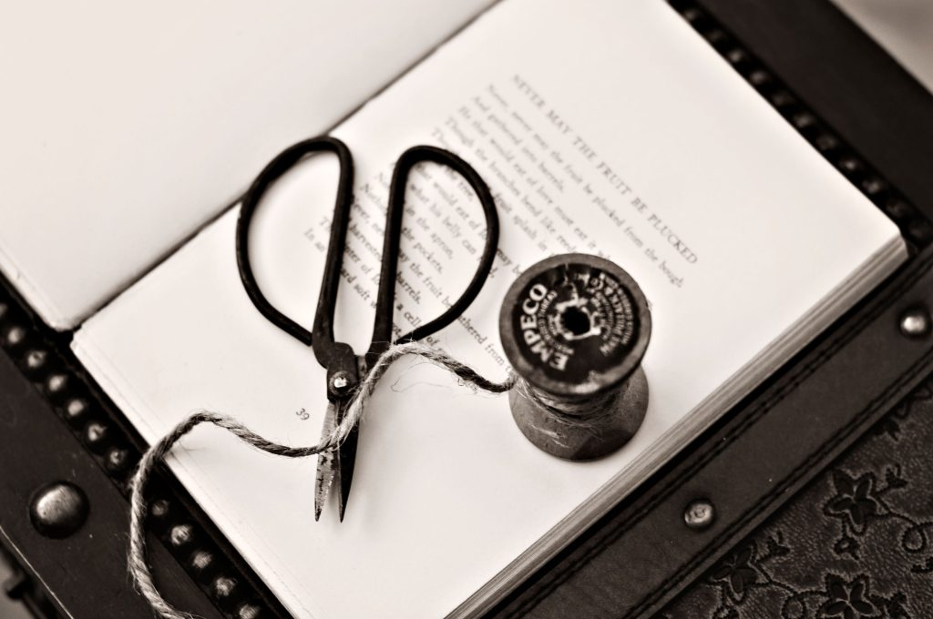 Black scissors on a book with thread